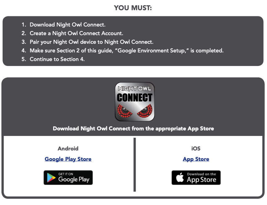 Night Owl Connect & Google Home Devices User's Manual